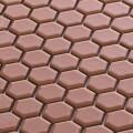 美濃焼タイル モザイクタイル 19mm六角形 フォーン 茶色 赤