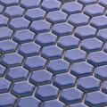 美濃焼タイル モザイクタイル 19mm六角形 マリンブルー 青