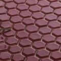 美濃焼タイル モザイクタイル 19mm六角形 ワインレッド 赤 紫