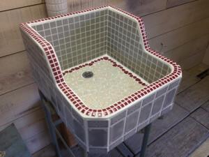 ガーデン タイル シンク 流し台 美濃焼 屋外 定番★ヴィンテージグレー(LS)1540