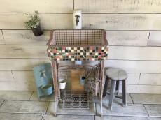 高級ラスティカタイル使用!ラスティカとベージュの大人シンク(SS)1792  – ガーデンシンク タイル 流し台 DIY 庭 洗い場 美濃焼タイル  手洗い -