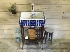 【再製作不可!限定1本限り!!】レトロネイビーの限定おしゃれシンク(SS)1806- ガーデンシンク タイル 流し台 DIY 庭 洗い場 美濃焼タイル レトロ 手洗い -